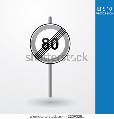 Speed Limits 80 kilometers per hour - stock vector