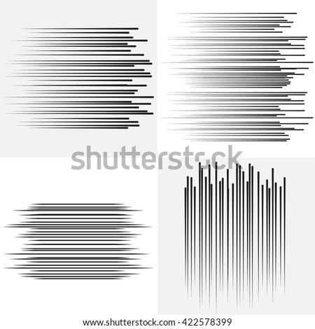 Speed lines Flying particles  Fight stamp Manga graphic. Sun rays or star burst Black vector elements on white background - stock vector