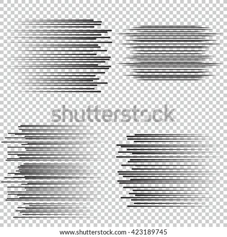 Speed lines Flying particles Fight stamp Manga graphic. Sun rays or star burst Black vector elements Isolated.