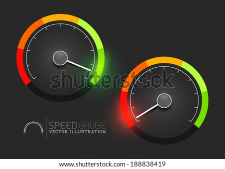 Speed, power and / or fuel gauge meter. Vector illustration - stock vector
