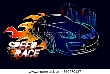 Speed Race Wallpaper With Silhouette Silver Sport Car Fire
