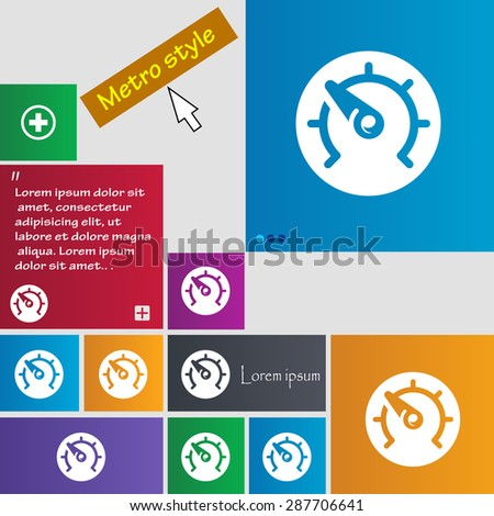 speed, speedometer icon sign. buttons. Modern interface website buttons with cursor pointer. Vector illustration - stock vector