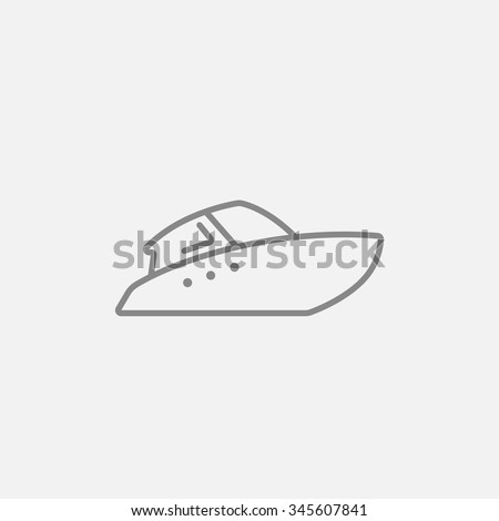 Speedboat line icon for web, mobile and infographics. Vector dark grey icon isolated on light grey background. - stock vector
