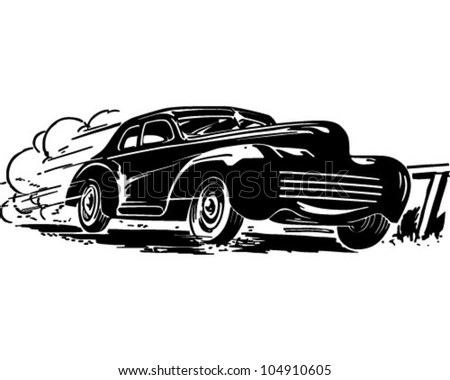 Speeding Car - Retro Clipart Illustration - stock vector