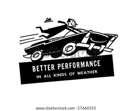 Speeding Driver - Retro Clip Art