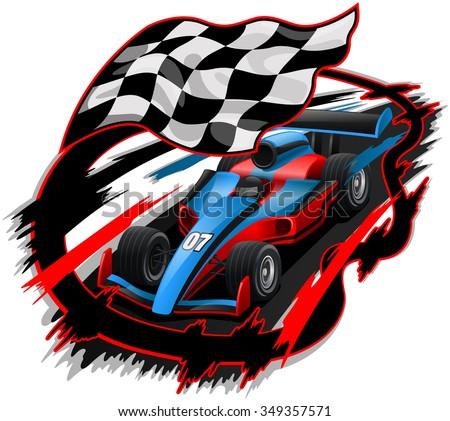 Speeding F1 Racing Car with Checkered Flag & Racetrack Design  - stock vector