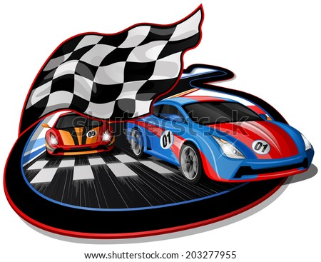 Speeding Racing Cars approaching Finish Line with Checkered Flag & Racetrack Design.  The first Car is going over the Finish Line.  - stock vector
