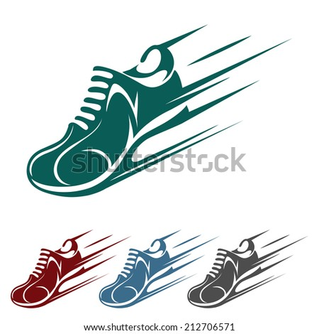 Speeding running shoe icons in four color variations with a trainer, sneaker or sports shoe with speed and motion trails, vector silhouette logo element on white - stock vector