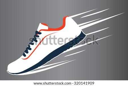 Speeding running sport shoe symbol, icon or logo. Vector illustration - stock vector