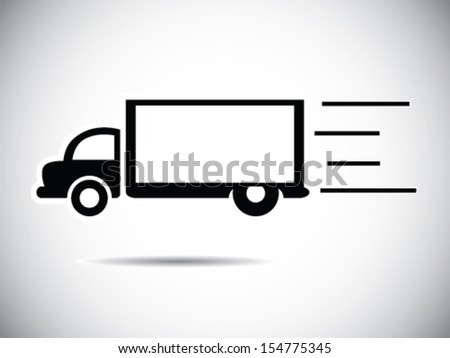 Speeding Truck - Deliver Package - stock vector