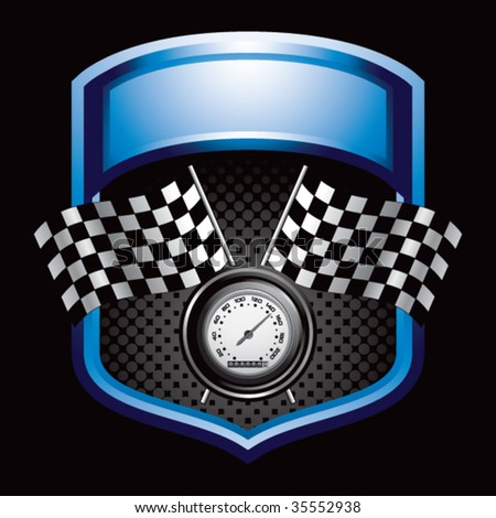 speedometer and checkered flags on blue display - stock vector