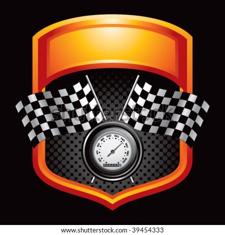speedometer and checkered flags on orange display - stock vector