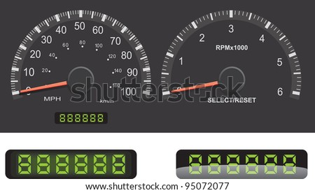 Speedometer and Tachometer gauge set with mileage LED details. - stock vector