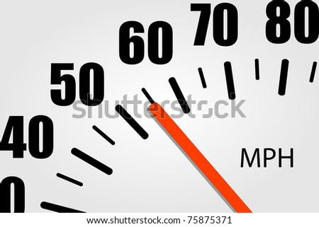 Speedometer Closeup Illustration - stock vector