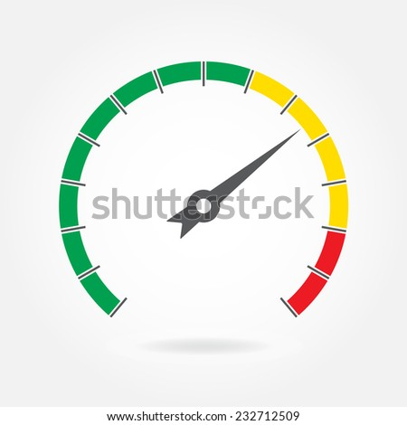 Speedometer icon or sign with arrow. Colorful Infographic gauge element. Vector illustration.  - stock vector
