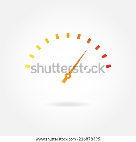 Speedometer icon or sign with arrow. Infographic gauge element. Vector illustration. - stock vector