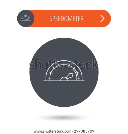 Speedometer icon. Speed tachometer with arrow sign. Gray flat circle button. Orange button with arrow. Vector - stock vector