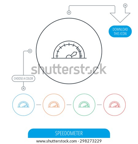 Speedometer icon. Speed tachometer with arrow sign. Line circle buttons. Download arrow symbol. Vector - stock vector