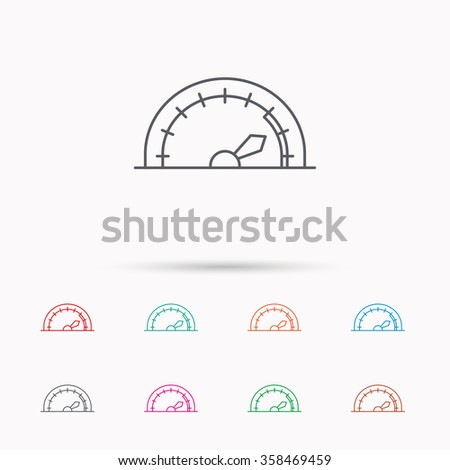 Speedometer icon. Speed tachometer with arrow sign. Linear icons on white background. - stock vector