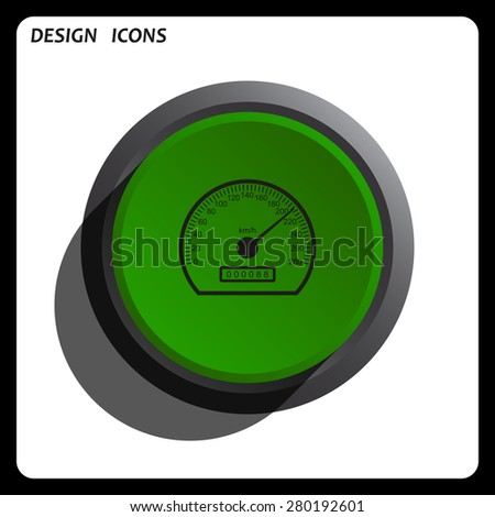 speedometer. icon. vector design Green Start button, forward, to continue. Flat design style. - stock vector