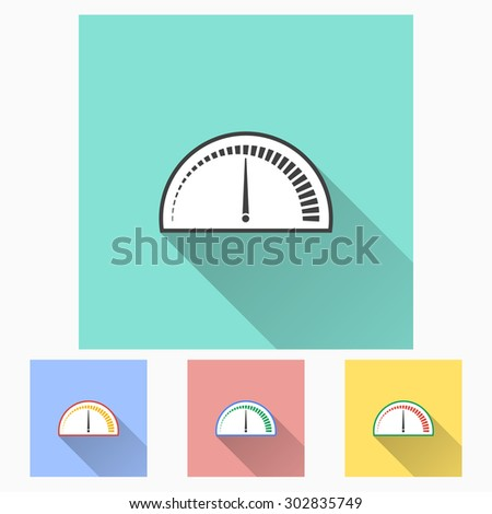 Speedometer - icon with long shadow, flat design. Vector illustration