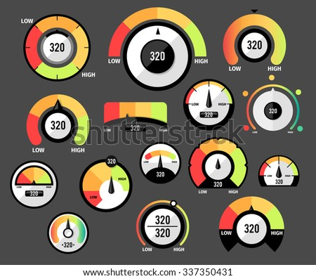Speedometer icons or Circular gauges icons set - stock vector