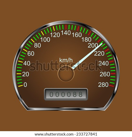 speedometer on a brown background, vector illustration - stock vector