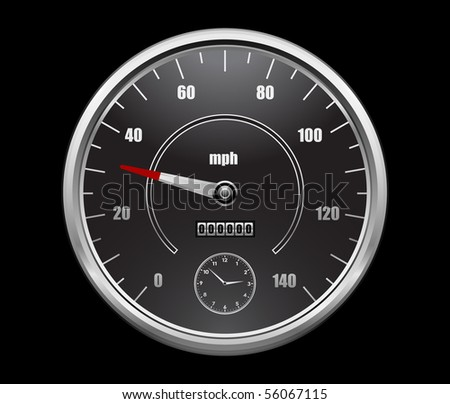 speedometer on black background - stock vector