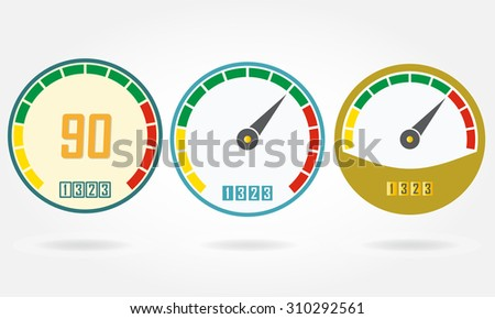 Speedometer or gauge icons set isolated on white background. Infographic and car instrument design elements. Template for download or upload design. Colorful vector illustration. - stock vector
