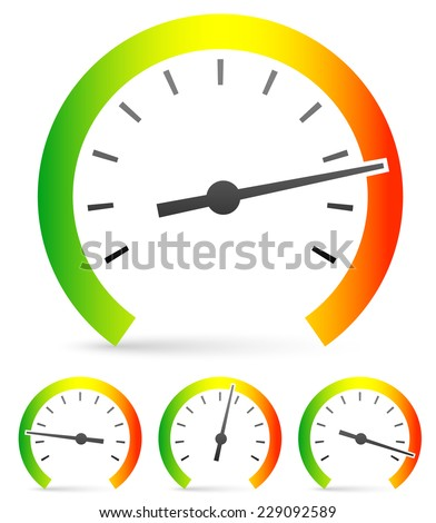 Speedometer or general gauge, dial template for measuring, comparison concepts. Vector icon. - stock vector