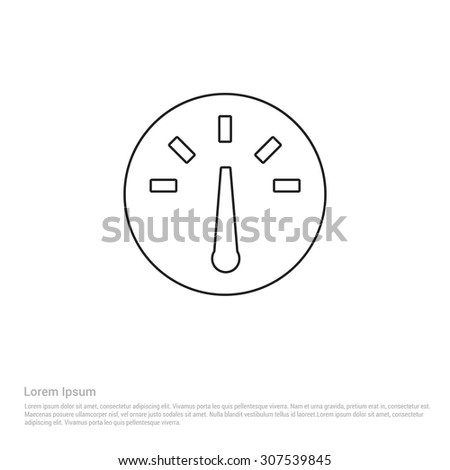 Speedometer Outline Icon, Vector Illustration, Flat pictogram icon - stock vector