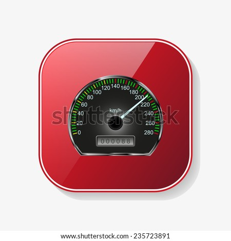 Speedometer red glossy button, vector