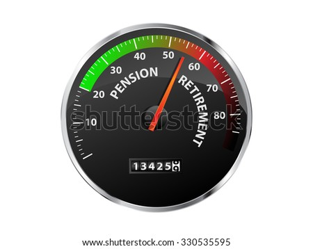 Speedometer showing pension and retirement age approaching