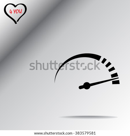 Speedometer sign icon, vector illustration. Flat design style