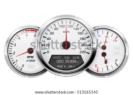 Speedometer, tachometer, fuel and temperature gauge. Car dashboard. 3d vector illustration isolated on white background