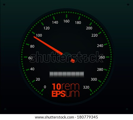 Speedometer with red arrow. Vector illustration.
