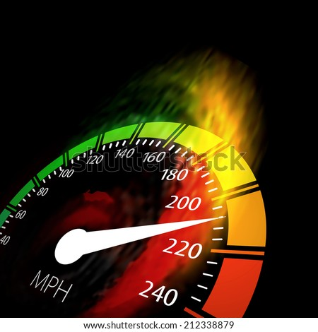 Speedometer with speed fire path. Vector illustration on black - stock vector