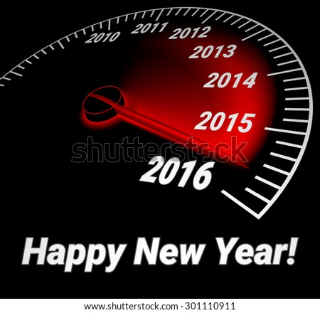 Speedometer with the date of year 2016. Happy new year. Creative card. - stock vector