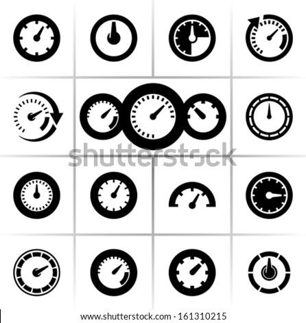Speedometers vector icons - stock vector