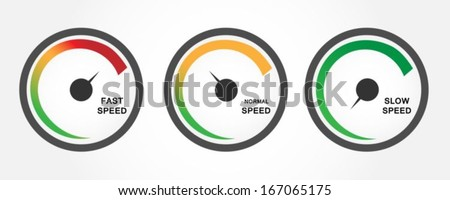 Speedometers with slow normal and fast download - stock vector