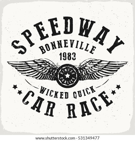 Speedway car race print in black and white for t shirt or apparel retro