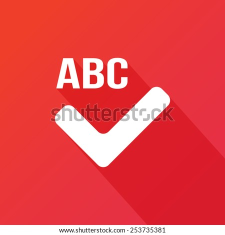 Spell check icon. Flat design style modern vector illustration. Isolated on red color background. Flat long shadow icon. Elements in flat design - stock vector