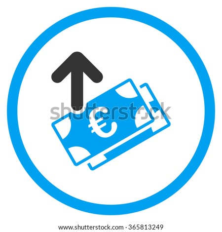 Spend Euro Banknotes vector icon. Style is bicolor flat circled symbol, blue and gray colors, rounded angles, white background. - stock vector