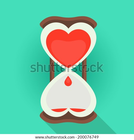 Spending time in love flat style vector illustration of a sandglass watches with the bleeding heart shape inside - stock vector