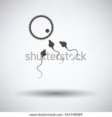 Sperm and egg cell icon on gray background, round shadow. Vector illustration. - stock vector