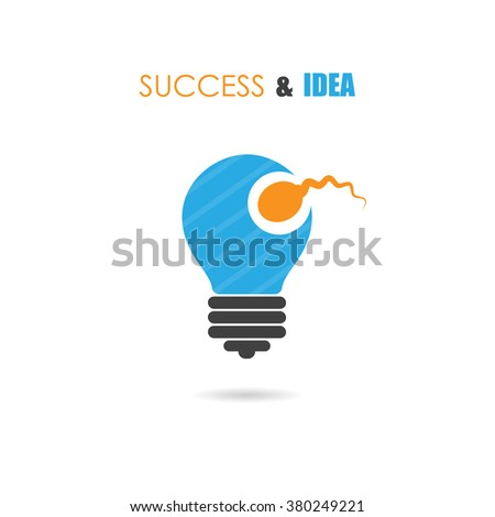 Sperm symbol and light bulb sign.Creative idea and success icon.Business and education concept.Vector illustration - stock vector