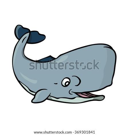 Sperm whale cartoon, vector illustration - stock vector
