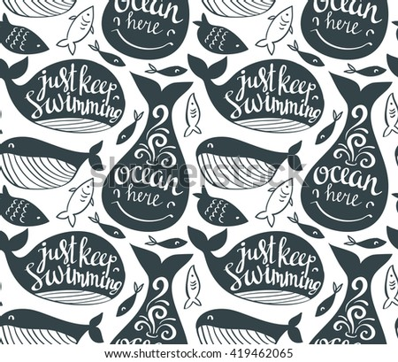 Sperm whale seamless pattern. Sea life vector background with stylish lettering. Great underwater dweller and little fish. Ornament for fabric marine style  - stock vector
