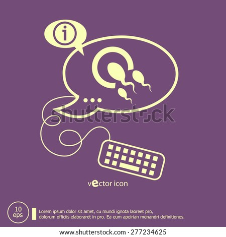 Sperms and egg icon and keyboard design elements. Line icons for application development, web page coding and programming, creative process. - stock vector