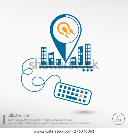 Sperms and egg icon and keyboard. Line icons for application development, creative process. - stock vector